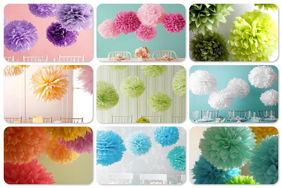 Decoraciones en papel para tus eventos i los pompones - Decoraciones de papel ...