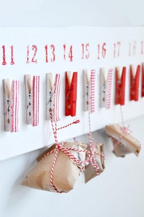 etiquetas para tus calendarios de Adviento de pinzas